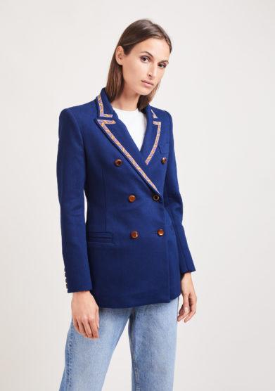 Nasco unico blazer Tuxedo Noris denim blu bordata