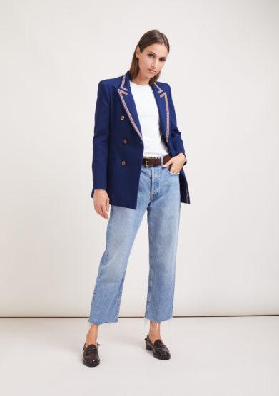 Nasco unico blazer Tuxedo Noris denim elasticizzato blu bordata