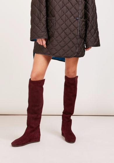 stivale alto sopra il ginocchio Valentina in pelle scamosciata bordeaux socksi millano