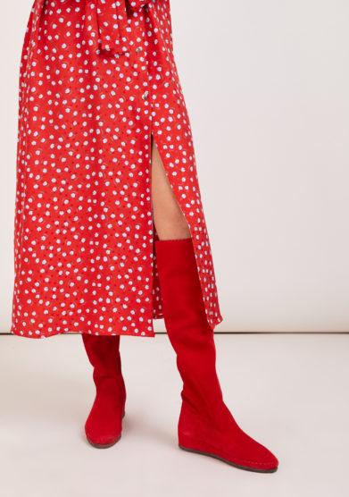 stivale sopra il ginocchio Valentina in pelle scamosciata rosso socksi milano