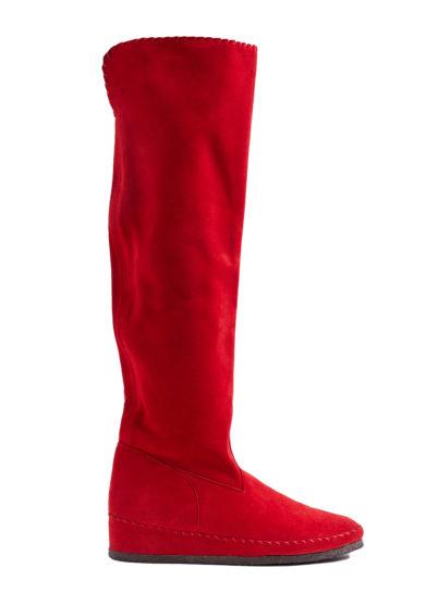 Socksi milano stivale sopra il ginocchio Valentina in pelle scamosciata rosso