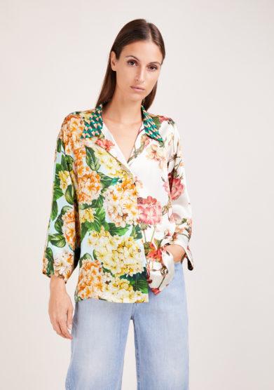 Susanna blu camicia artigianale in mix di sete stampate a fiori
