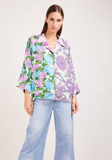 Susanna blu camicia artigianale in mix di sete stampate a fiori lilla