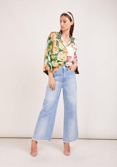 Susanna blu camicia artigianale in mix di sete stampate a fiori ampia