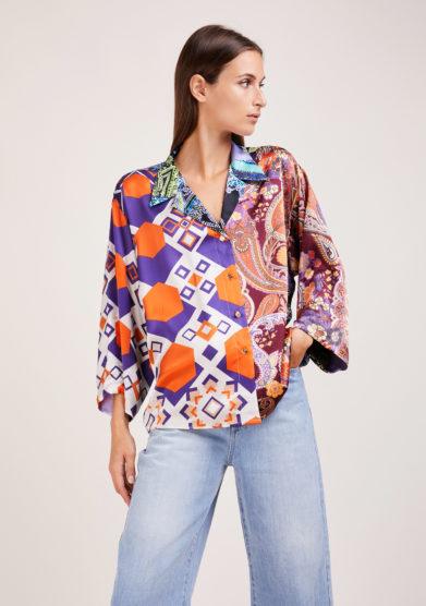 camicia artigianale in mix di sete stampate arancio e viola Susanna blu