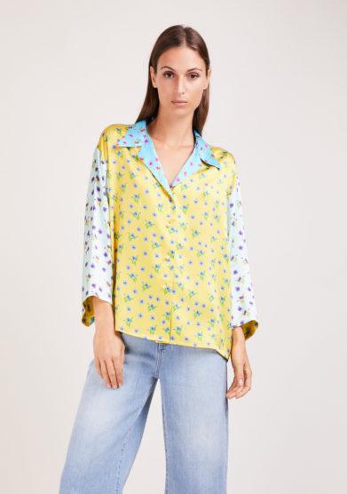 Susanna blu camicia artigianale in mix di sete stampate fiorellini