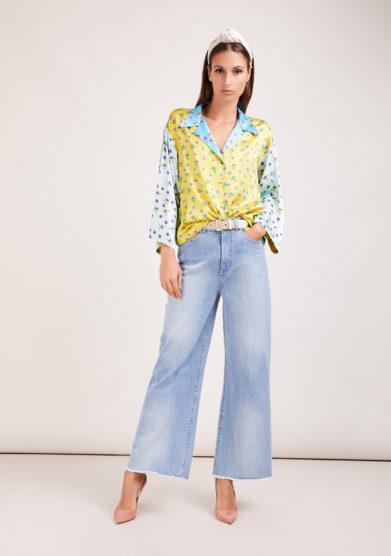 Susanna blu blusa artigianale in mix di sete stampate fiorellini