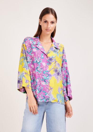camicia artigianale in mix di sete stampate gialla e lilla Susanna blu