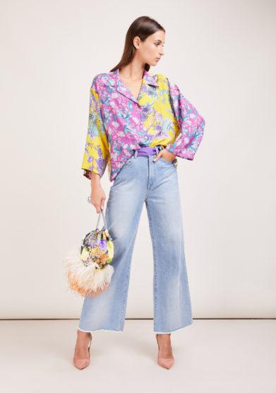 Susanna blu camicia artigianale in mix di sete stampate gialla e lilla