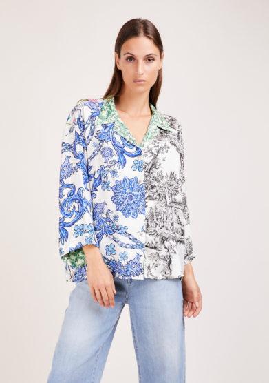 camicia artigianale in mix di sete stampate toile de jouy susanna blu