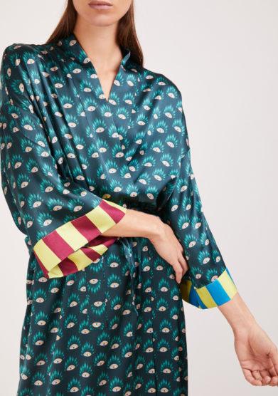 kimono artigianale Susanna blu in seta stampata verde