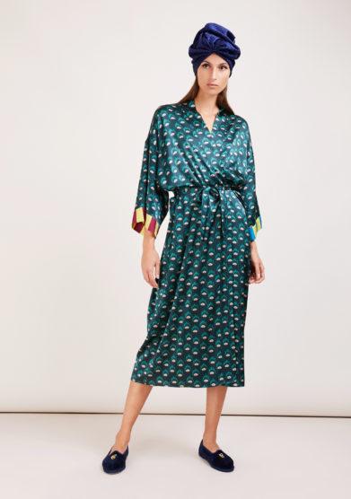 Susanna blu kimono artigianale in seta stampata verde